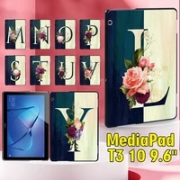 tablet case for huawei mediapad t3 10 9 6 inch 26 letter pattern series shockproof plastic back shell stylus