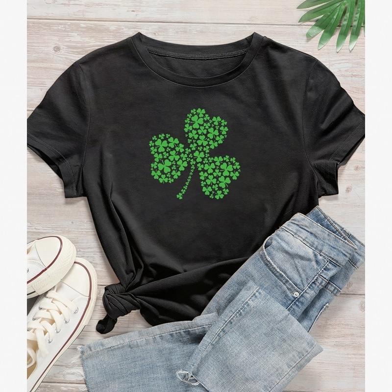 Camiseta verde TRÉBOL DE LA SUERTE Camisas gráfico Harajuku camisa estética Grunge camisetas de algodón Tops par de ropas Camisas Mujer