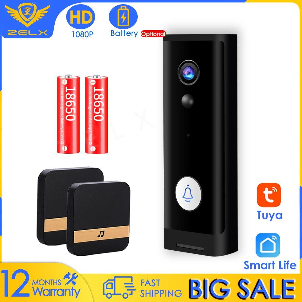1080P Video Doorbell Camera Intercom Smart Home Battery-Powered Doorbell Wireless Chime Audio Alarm