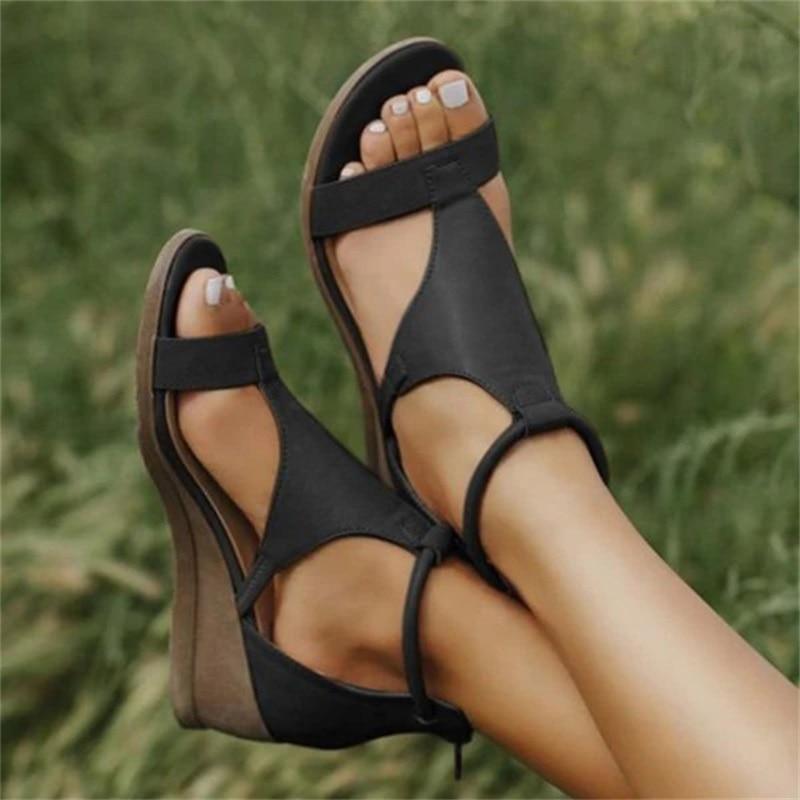 Summer Women Sandals Mid Heels Wedges Shoes Woman Vintage PU Leather Plus Size Shoes Gladiator Sandalias Mujer Sapato Feminino