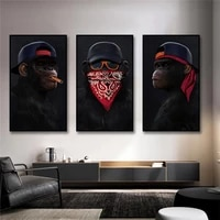 funny animal painting gorilla canvas oil paintings wall art posters 3 wise monkeys canvas prints for living room wall decoration