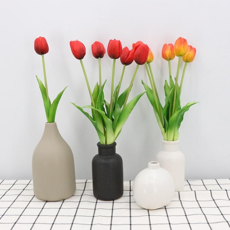 1/2/5/pcs New PU Tulip Artificial Flower 32cm Real Touch Fake Flower Bouquet for Wedding Decoration Home Garen Decor