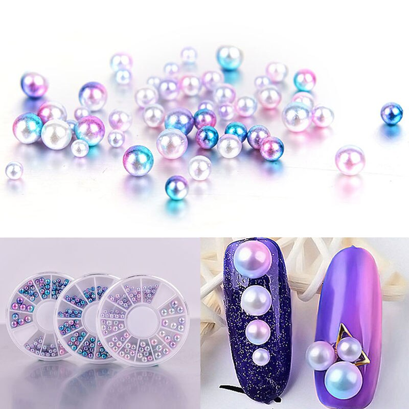Women Mix Size 3D Pearl Nail Art Decal Tips Glitters Stickers Nail Accessories Tools
