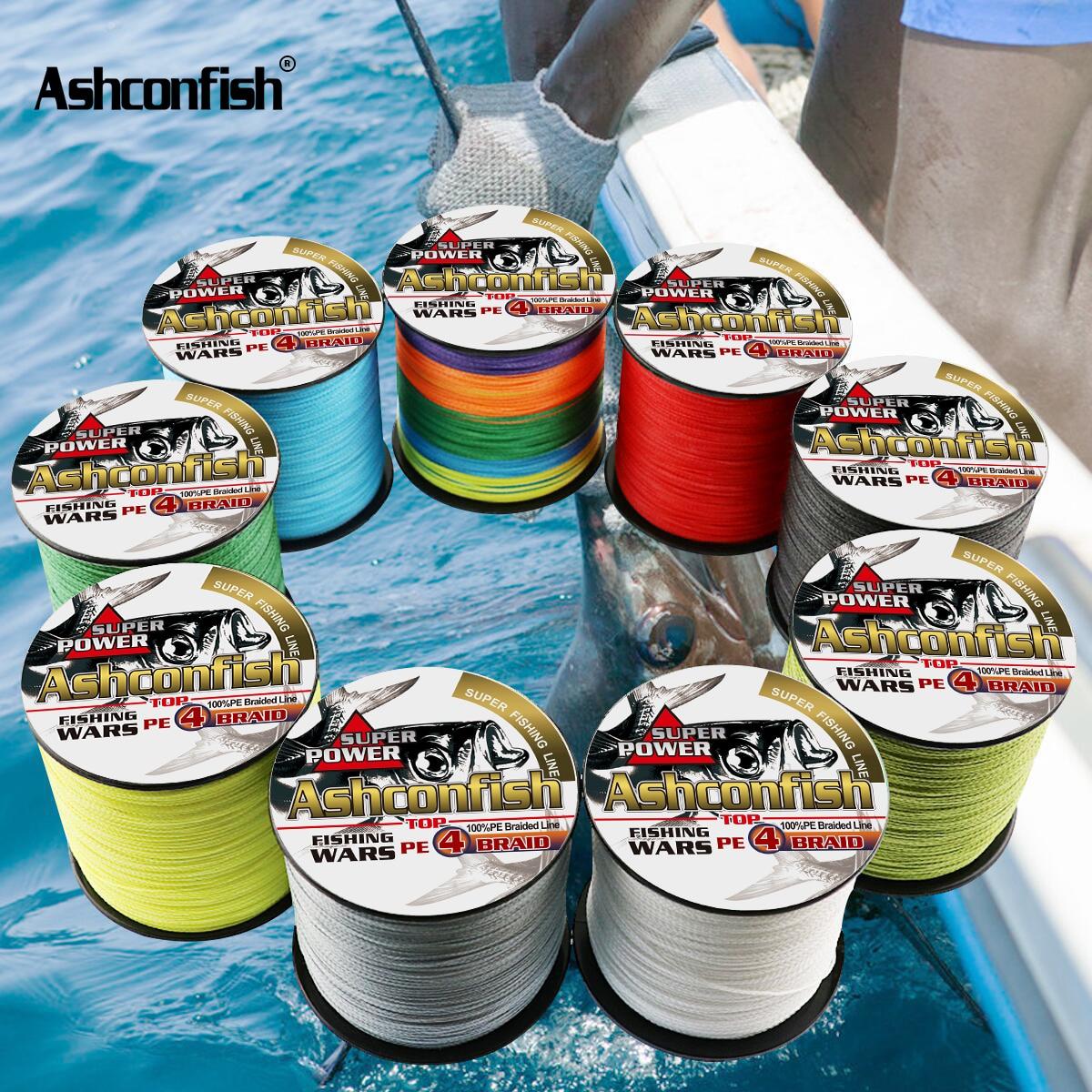 Ashconfish 300M 4 hebras de agua dulce/agua salada trenzada línea de pesca 6-100LB x4 Multilament línea trenzada para la pesca de carpa 0,2 0,55mm