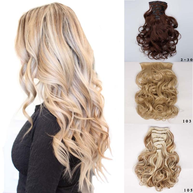 16 clips 61CM extensiones de cabello sintético de onda larga 140g pelo de clip falso fibra de alta temperatura pelo negro y marrón Rubio