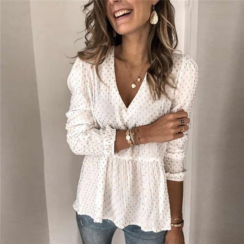 Women Sexy Chiffon Sheer Blouse Shirts Slim Tops Ladies Long Sleeve Ruffle Deep V Neck Solid Casual Summer Costume Fashion New