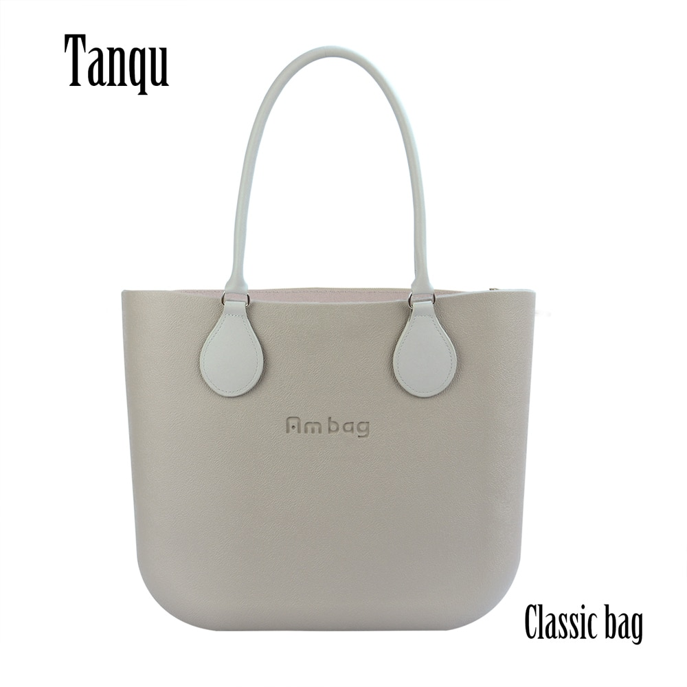 AMbag Obag O حقيبة نمط مقاوم للماء إيفا الكلاسيكية مع الرمز الهاتفي قماش الداخلية الملونة قصيرة بولي مقابض مقابض جلدية حقائب اليد النسائية