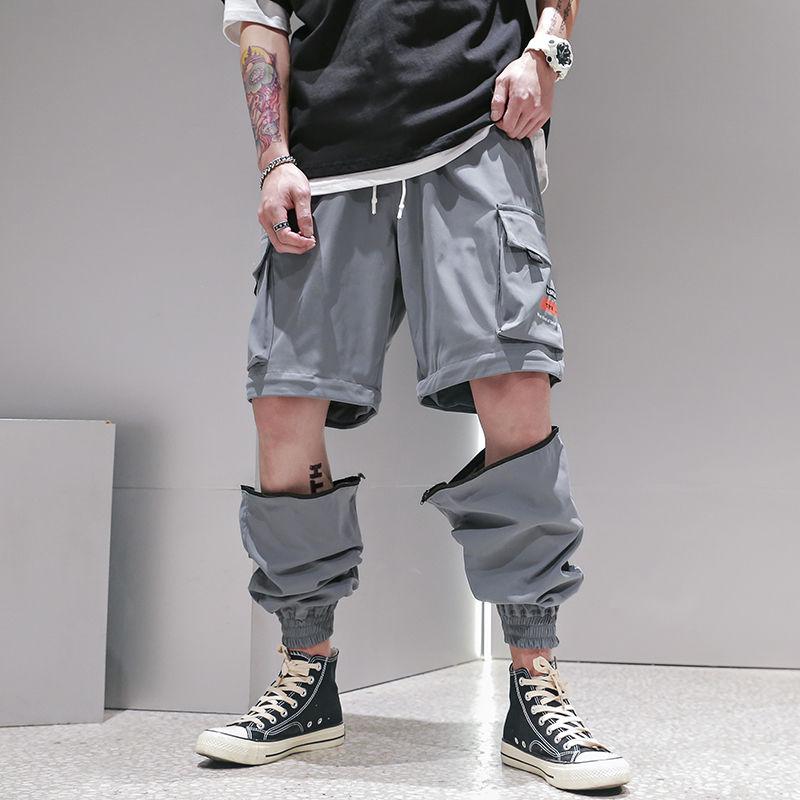 Men Fashion Streetwear Mens Jogger Pants Youth Casual Autumn Ankle Length Cargo Trousers Loose Detachable Pants Leg Dropshipping