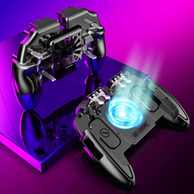 Controlador de Joystick móvil de 6 dedos 2020, controlador de Gamepad para disparar, disparar, enfriar, ventilador, mando para teléfono móvil IOS y Android