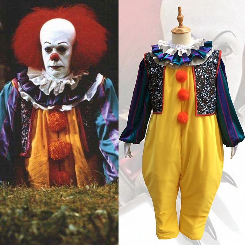 Stephen King's It Terror Pennywise Cosplay Costume Halloween Costume Joker Jumpsuits Clown Figure Scary Latex Mask Wig Men Women