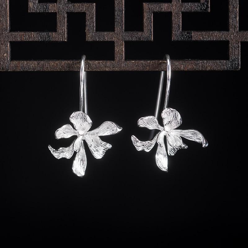 VLA 925 Silver Simple Flower Earrings For Teens Design Vivid Fashion Iris Earrings Personalized Gift