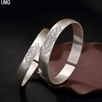 100 real solid 999 pure silver lotus wide bangles for women thai silver open bangle handmade ethnic floral bracelets
