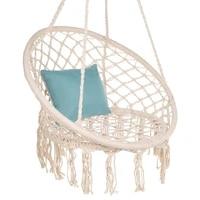 outdoor hammock nordic indoor egg chair swing basket tassel swing hanging chair handmade knitted patio furniture swings