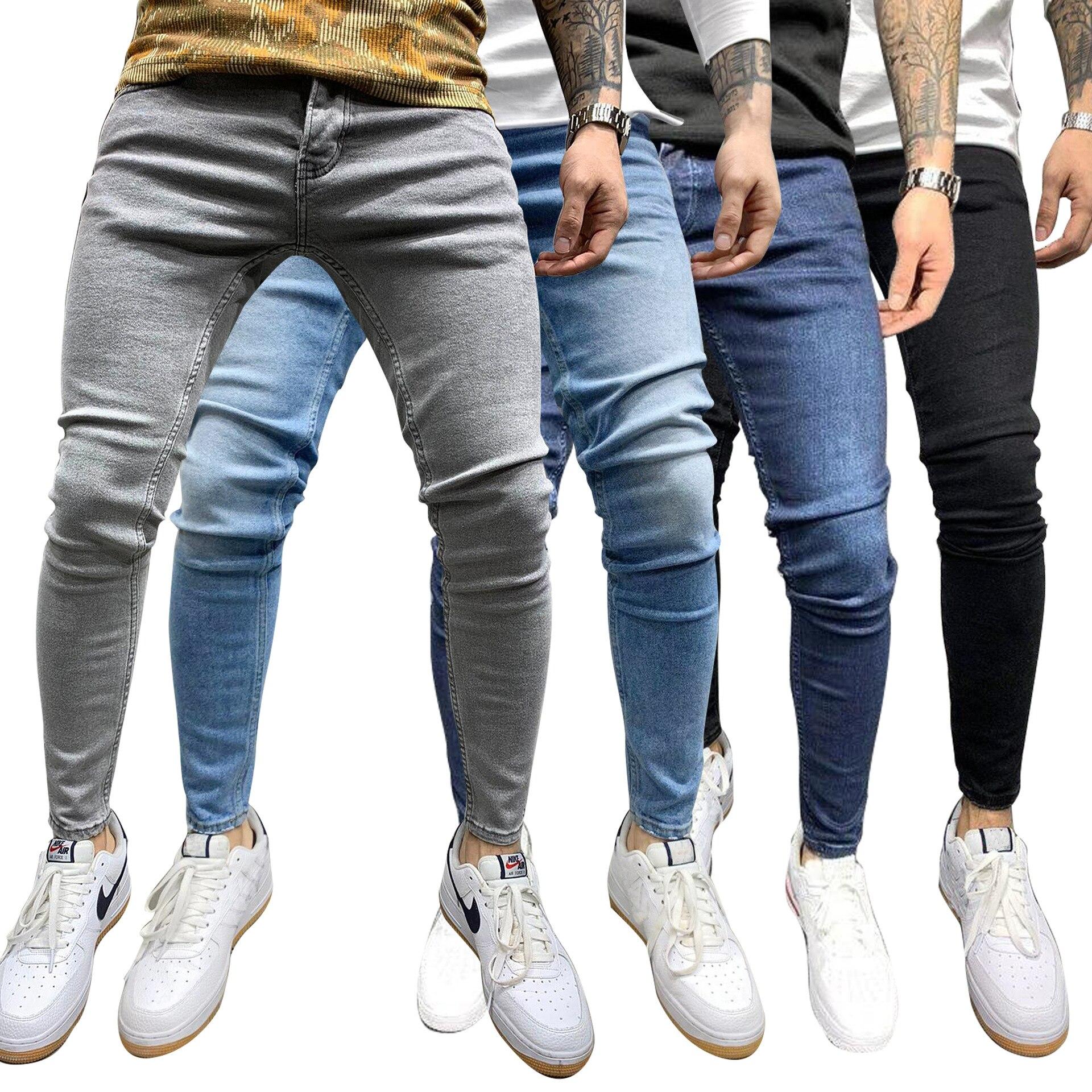 Твердые Цвет эластичные мужские джинсы на талии обтягивающие джинсы стрейч Повседневное узкие брюки уличная мужские джинсы Hombre Pantalon больш...