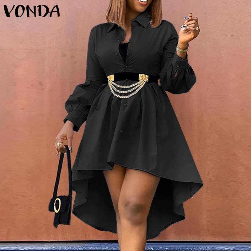 bohemian women maxi long dress 2019 vonda summer o neck long sleeve pattern print dresses casual loose party vestidos plus size VONDA Women Shirt Dress Casual Irregular Hem Lapel Button Down Long Sleeve Party Pleated Dresses Bohemian Vestidos Plus Size