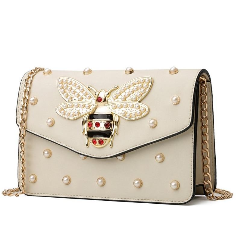 New Fashion Women Handbags Messenger Bag New Brand Leather Female Shoulder Bag Luxury Diamond Little Bee Woman Strap Bags