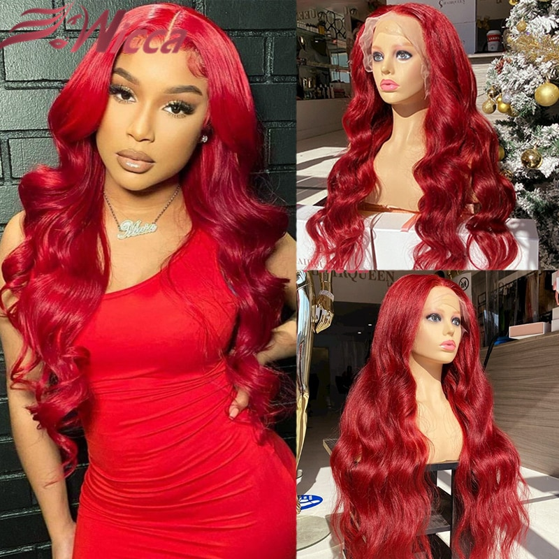 Colored Red Human Hair Wigs For Women Brazilian Remy 13*4 Lace Front Wigs 180% Red Straight/Body Wave Lace Front Human Hair Wigs