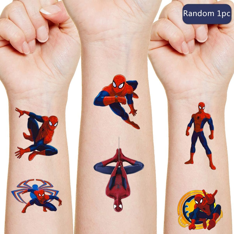 Spiderman Disney original Tattoo stickers random 1PCS action figure super heroes Cartoon boys girls Christmas birthday gifts
