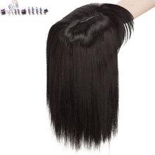 S-noilite-piezas de cabello sintético para mujer, postizo recto de fibra de alta temperatura, con flequillo, 10 pulgadas