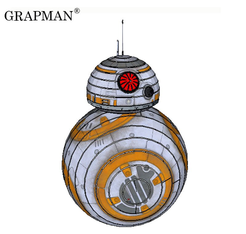 BB-8 astromech droid star wars 3d modelo de papel diy puzzle manual papercrafts brinquedo