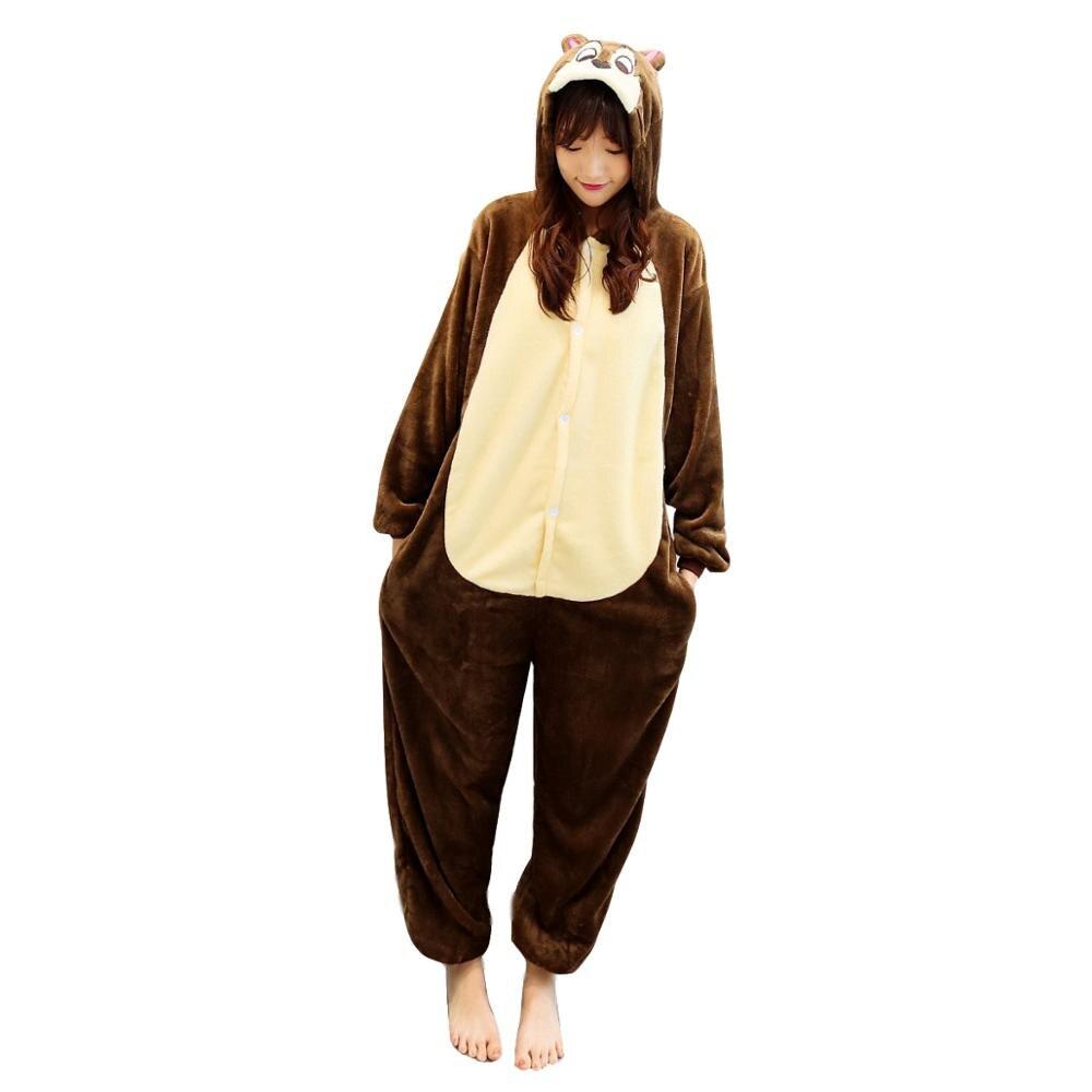 Unisex adultos animales pijamas Anime Onesie ardilla franela dibujos animados lindo cálido Cosplay ropa de dormir