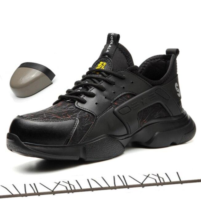 Zapatos de seguridad de trabajo de acero de diseñador de lujo para hombres y mujeres, zapatillas de seguridad antideslizantes a prueba de perforaciones, botas de seguridad indómibles para hombres