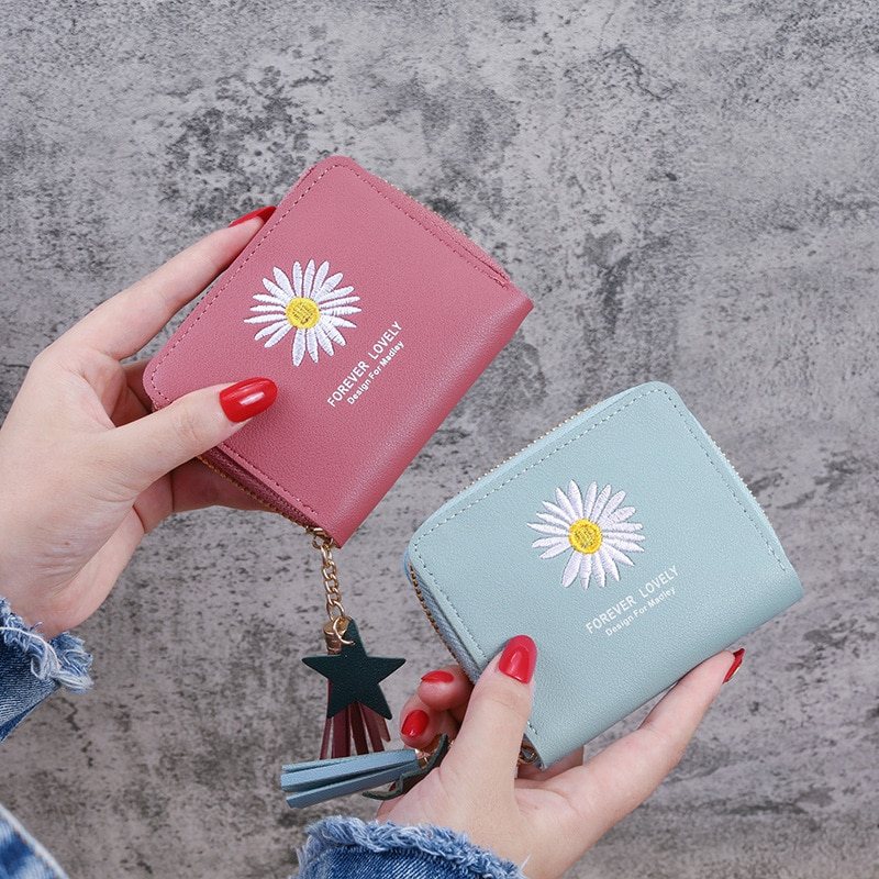 Women Wallets Cute Small Short Wallet Zipper Flower Letter Fashion Monederos Slim Credit Security Card Holder Small Coin Purse
