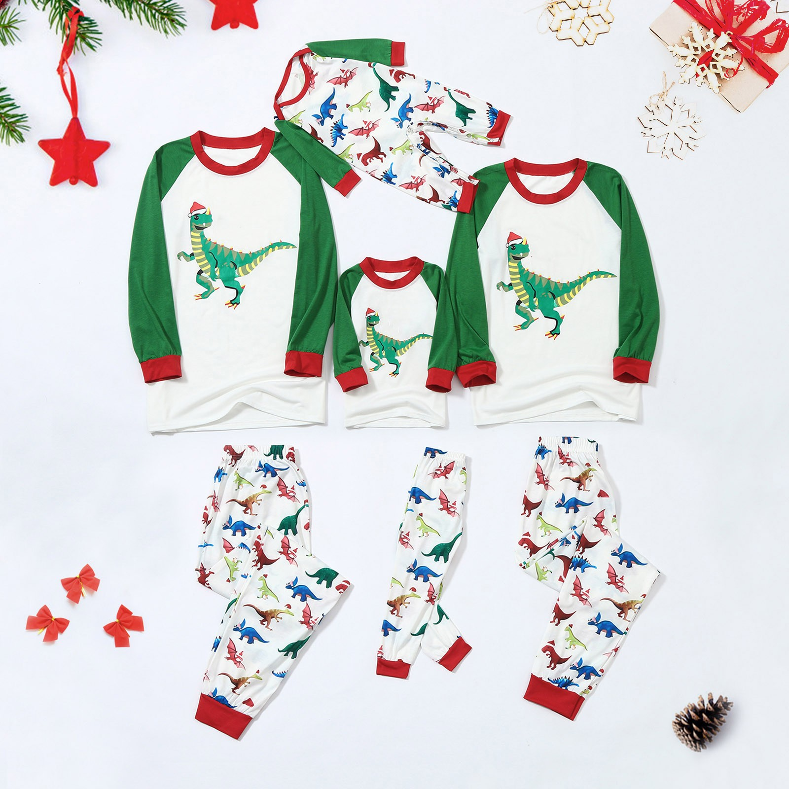 Pijama navideño con estampado de dinosaurio, Top, blusa + pantalón, para dormir,...