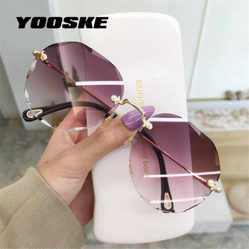 Yooske rimless cat eye óculos de sol feminino na moda óculos de sol senhoras gradiente tons sem moldura uv400 espelho