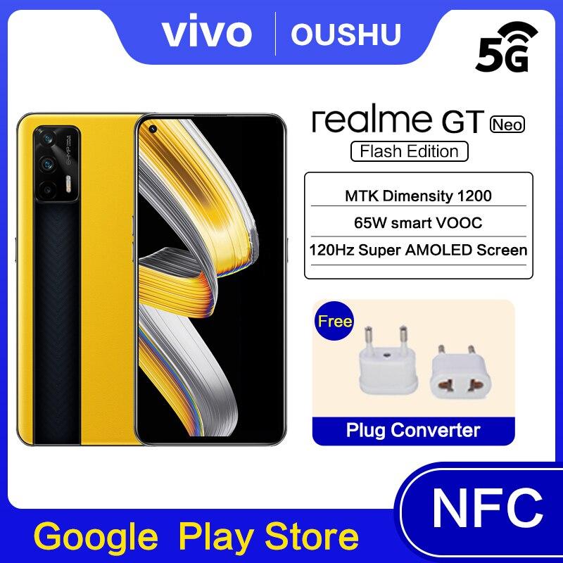 Оригинальный realme GT Neo Flash Edition мобильный телефон MTK Dimensity1200 120 Гц Super AMOLED Экран 64 мп Тройная камера мобильного телефона Android