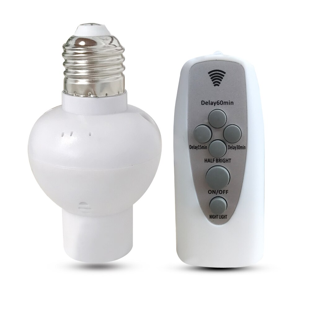 Control remoto E27 LED Bombilla soporte de lámpara accesorios de iluminación para el hogar dormitorio escalera pasillo regulable timing luz nocturna