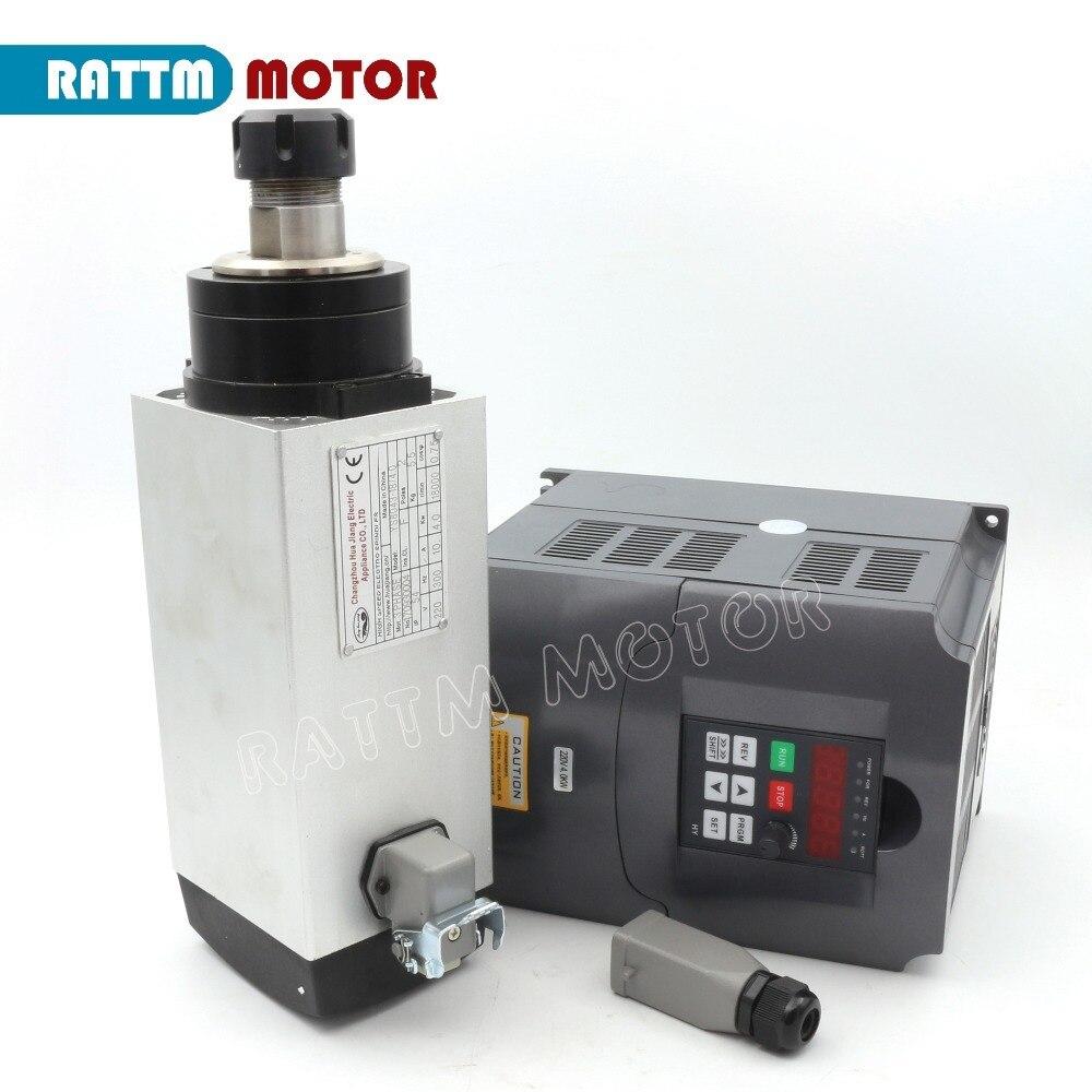 محرك المغزل المبرد بالهواء ، وحدة تحكم محول VFD ، 4 محامل ، 220 فولت لجهاز التوجيه CNC