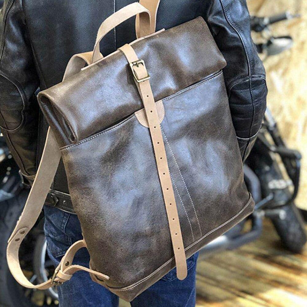 High Quality 100% Genuine Cowhide Backpacks For Men 2021 Vintage Cow Leather Motor Biker Bag Women Casual Rock Can Roll Bagpack