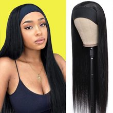 March Queen 26 28 Inch Headband Wig Human Hair Straight Brazilian Non Remy Head Band Wigs For Black