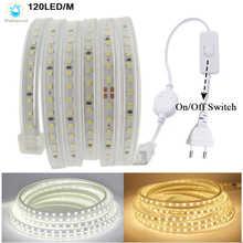 Водонепроницаесветодиодный светодиодная ленсветильник 220 В, высокая безопасность, высокая яркость SMD 2835, гибкая лампа s 120LED s/M, украшение для...