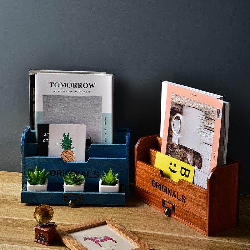 Retro Home Daily Caja de almacenaje de alimentos con Control remoto, artesanías de madera, suministros de oficina, soporte de escritorio para bolígrafo, estante de acabado