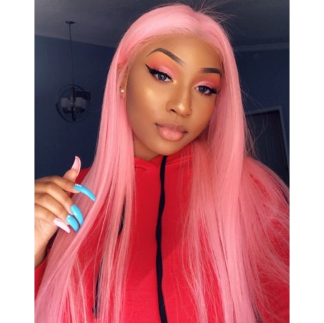 Pink Long Straight 13x4 Lace Front Glueless Wig Pre-Pluck Hairline Virgin Human Hair 180 Density