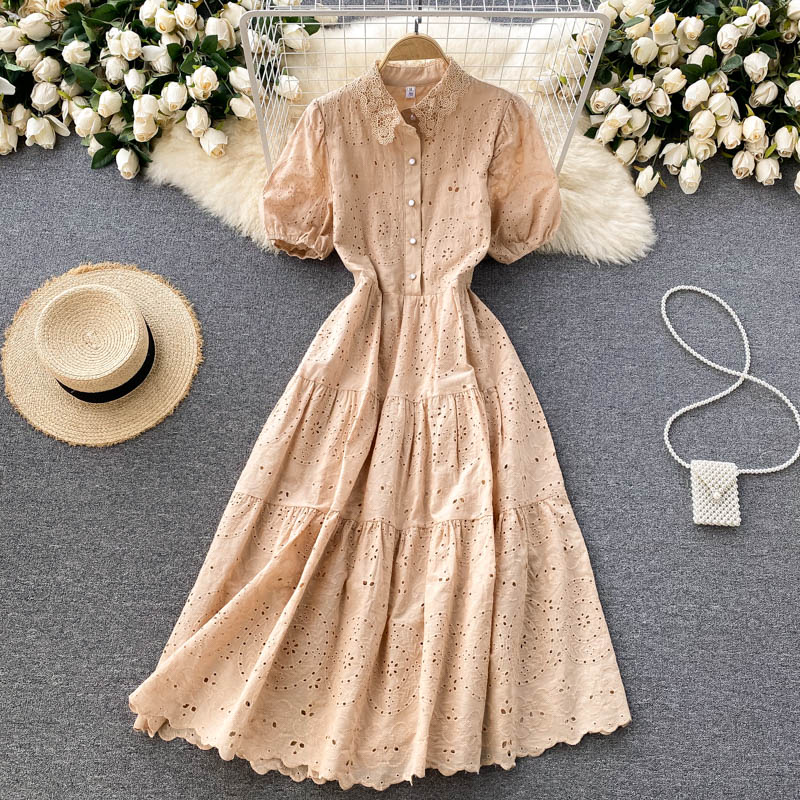 Midi Dresses for Women Summer New Hollow Out Short Puff Sleeve Lace Turn-down Collar A Line Sundress Blue Yellow