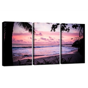 3 Pieces Framed Poster Nordic Travel Evening Glow Ocean Wave Beach Wall Art Canvas Print Seascape Painting Tropical Home Decor