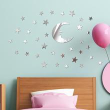 AsyPets 39 pièces/ensemble miroir Stickers muraux avec lune étoile motif décor pour maison enfants enfants chambre salon