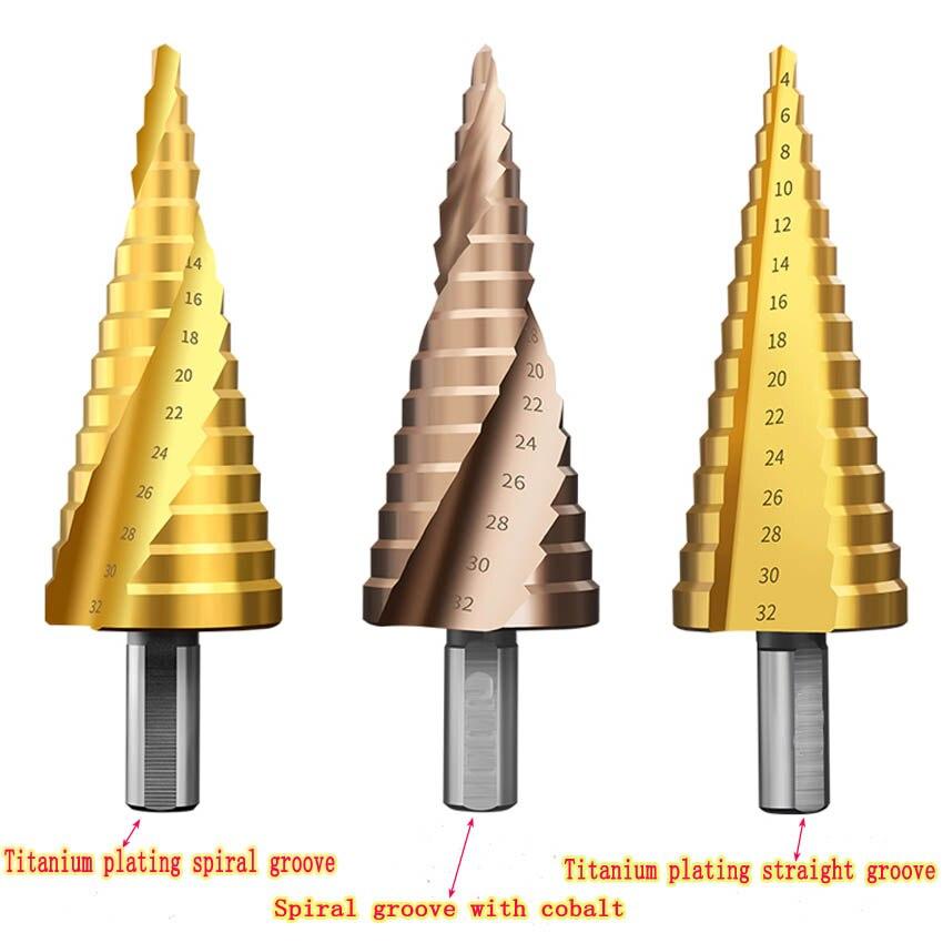 Multi-size HSS Steel Titanium Step Drill Bits 4-12/4-20/4-32mm Cone Cutting Tools Woodworking Wood Metal Drilling