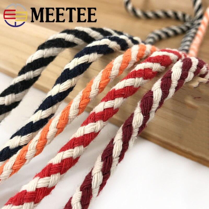 Cuerda de algodón tejida de dos colores Meetee de 20 metros y 6mm, hilo de cuerda trenzado, accesorio de costura CD005 para decoración del hogar