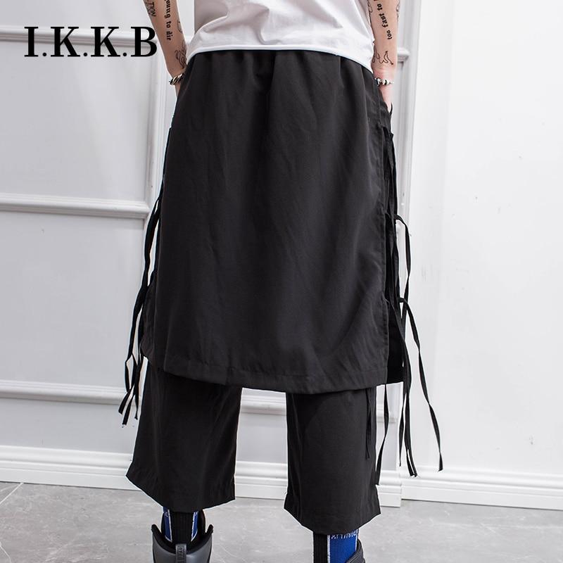 Spring Casual Nine-quarter Pants Male Trend Hip-hop Functional Wind Overalls Culottes Loose Straight-leg Tassels Harem Pants