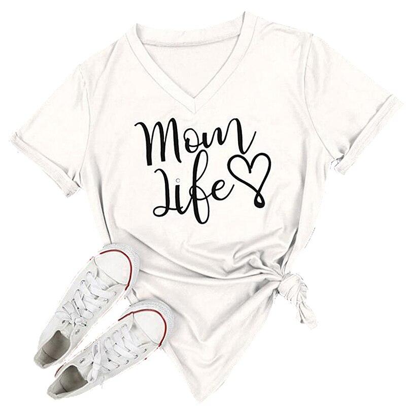 Verão casual t camisa feminina t solto topos moda feminina camisetas mãe vida carta impresso manga curta camisetas femininas