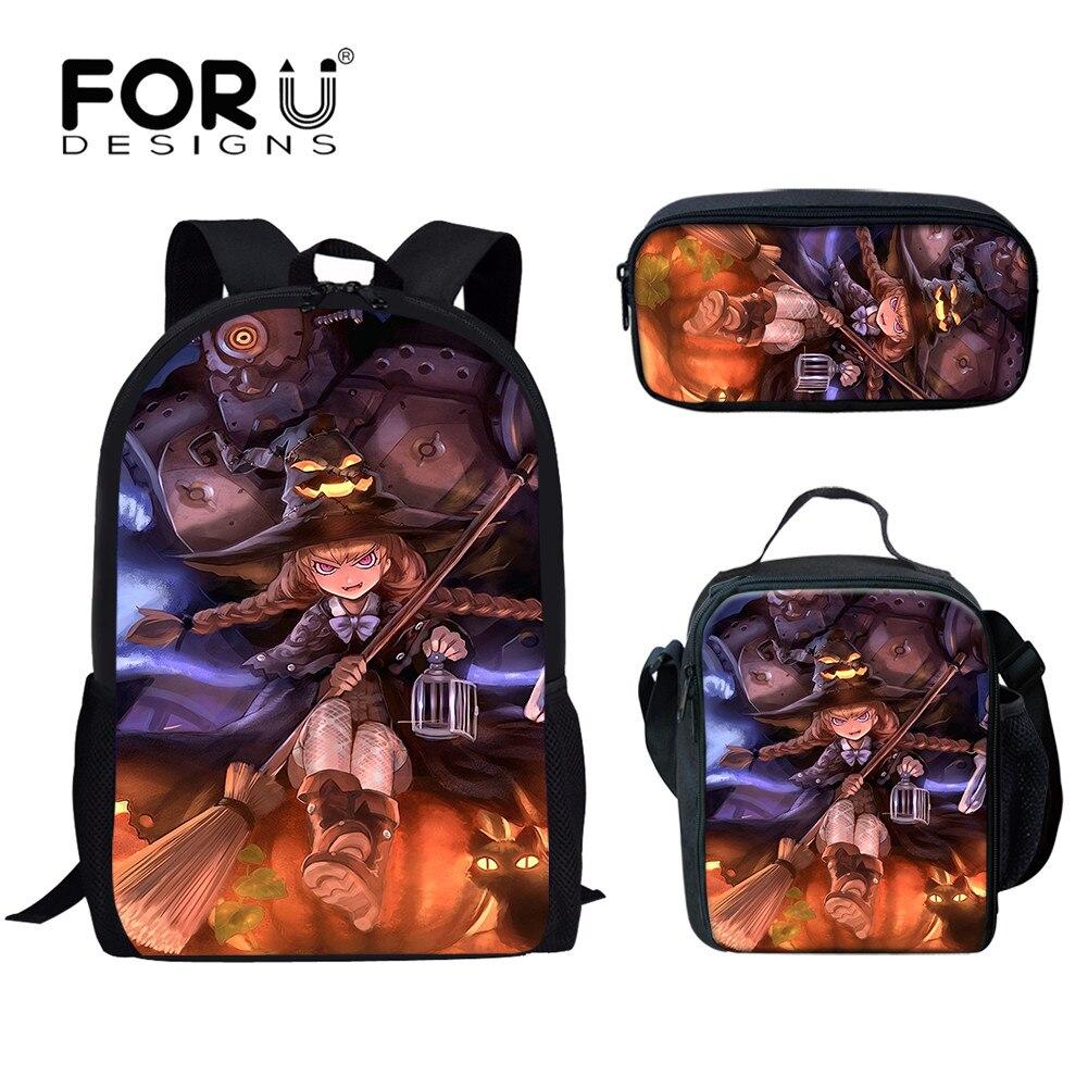 Школьные ранцы FORUDESIGNS для Хэллоуина, вместительные сумки для учебников для учеников начальной школы, модные Молодежные рюкзаки