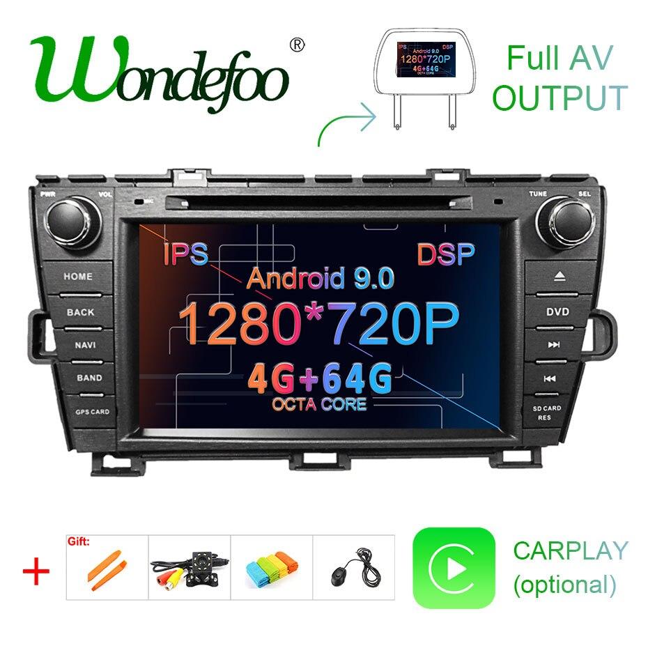 DSP 4G 64G Android 9,0 IPS pantalla radio GPS de coche para Toyota Prius 2009-2013 reproductor de dvd navegador estéreo Unidad de multimedia