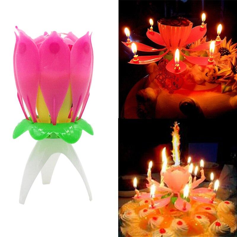Vela de loto cera de cumpleaños una Capa Mágica Musical romántica giratoria flor luz pastel boda niños fiesta DIY decoración regalos
