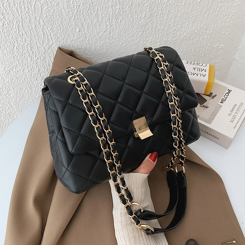 Casual Small Black PU Leather Crossbody Bags for Women 2020 Chain Shoulder Handbags Women's Branded Trending Hand Bag