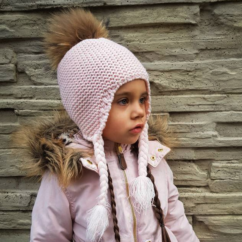 FURANDOWN Fashion Kids Beanie Winter Pompon Hats For Children Girls Knitted Wool Earflap Beanies Cap Crochet Baby Hat