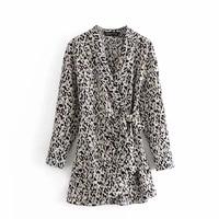 female spring 2021 new animal fashion print body pants dress v neck long sleeve women high waist sexy mini dress